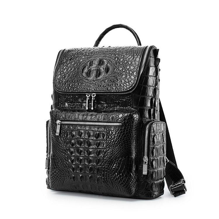 Men's Genuine Crocodile Skin Backpack, Casual Travel Bag Extra Capacity Casual Daypacks-Front
