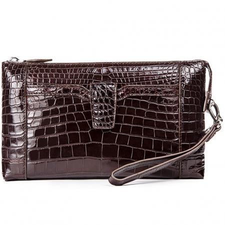 Men Alligator Clutch Wallet Business Purse-BrownMen Alligator Clutch Wallet Business Purse-Brown