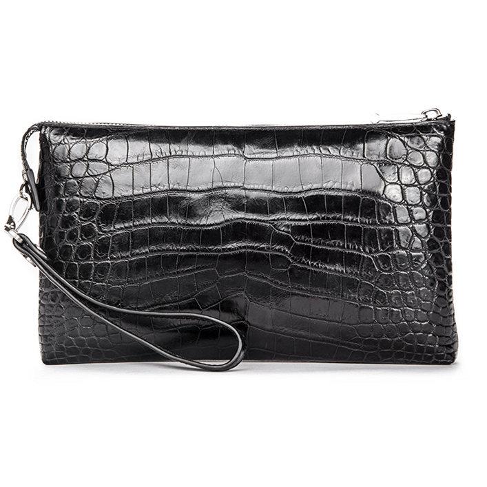 Men Alligator Clutch Wallet Business Zipper Long Card Holder Phone Purse-Back