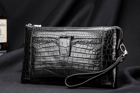 Men Alligator Clutch Wallet Business Zipper Long Card Holder Phone Purse-Black-Exhibition