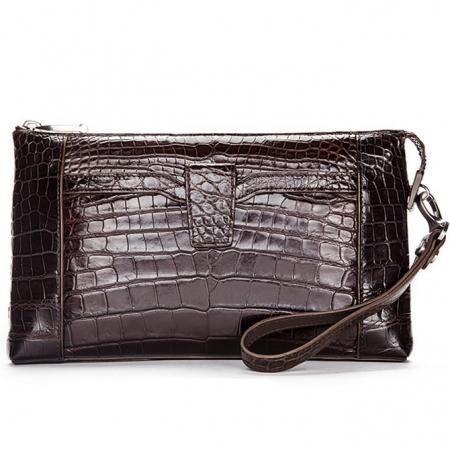 Men Alligator Clutch Wallet Business Zipper Long Card Holder Phone Purse-Brown