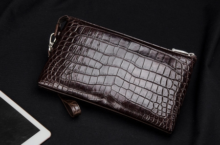 Men Alligator Clutch Wallet Business Zipper Long Card Holder Phone Purse-Brown-Back