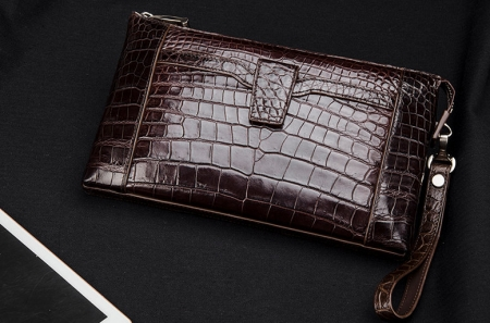 Men Alligator Clutch Wallet Business Zipper Long Card Holder Phone Purse-Brown-Exhibition