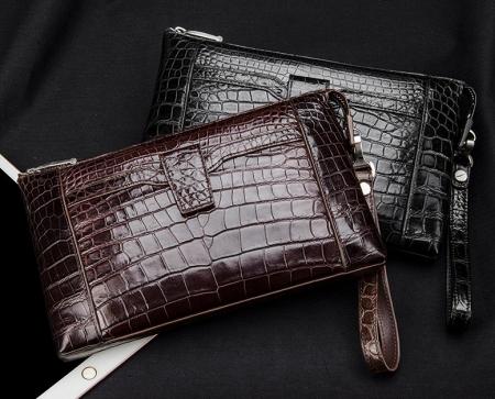Men Alligator Clutch Wallet Business Zipper Long Card Holder Phone Purse-Exhibition