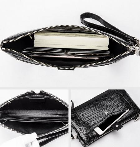 Men Alligator Clutch Wallet Business Zipper Long Card Holder Phone Purse-Inside