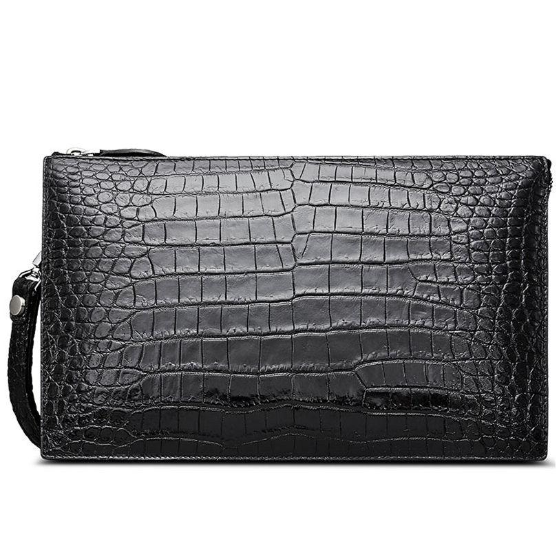 Mens Genuine Alligator Skin Big Clutch Bag Wristlet Handbag Organizer Wallet