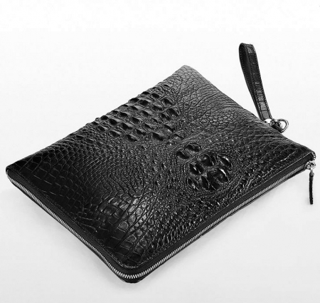 Premium Crocodile Leather Clutch Wallet With Wrist Strap-Front