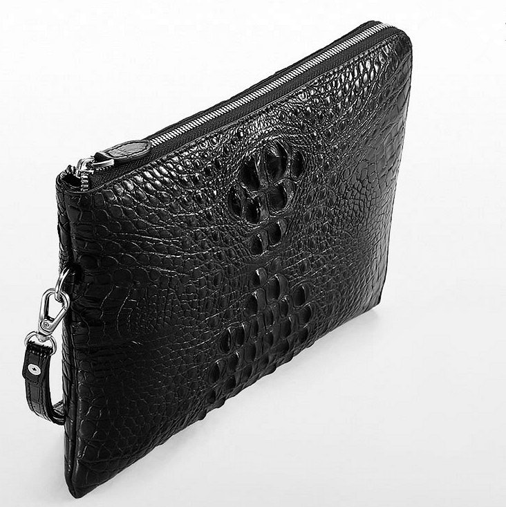 Premium Crocodile Leather Clutch Wallet With Wrist Strap-Top