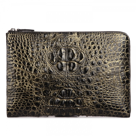 Premium Crocodile Leather Clutch Wallet With Wrist Strap-Yellow