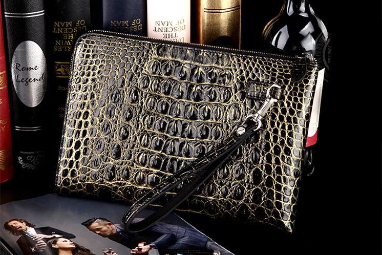 Premium Crocodile Leather Clutch Wallet With Wrist Strap-Yellow-Black
