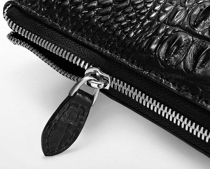 Premium Crocodile Leather Clutch Wallet With Wrist Strap-Zipper