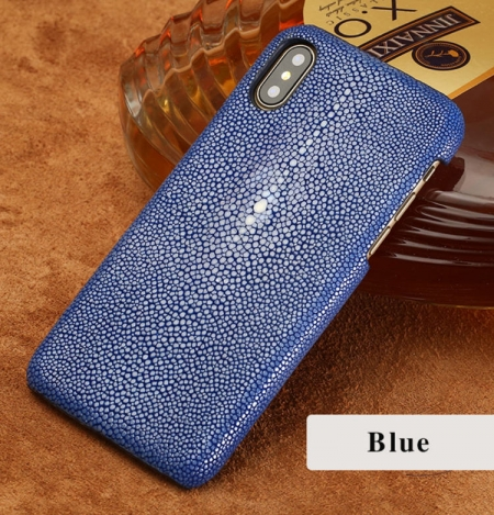 Stingray Leather iPhone X Case-Blue