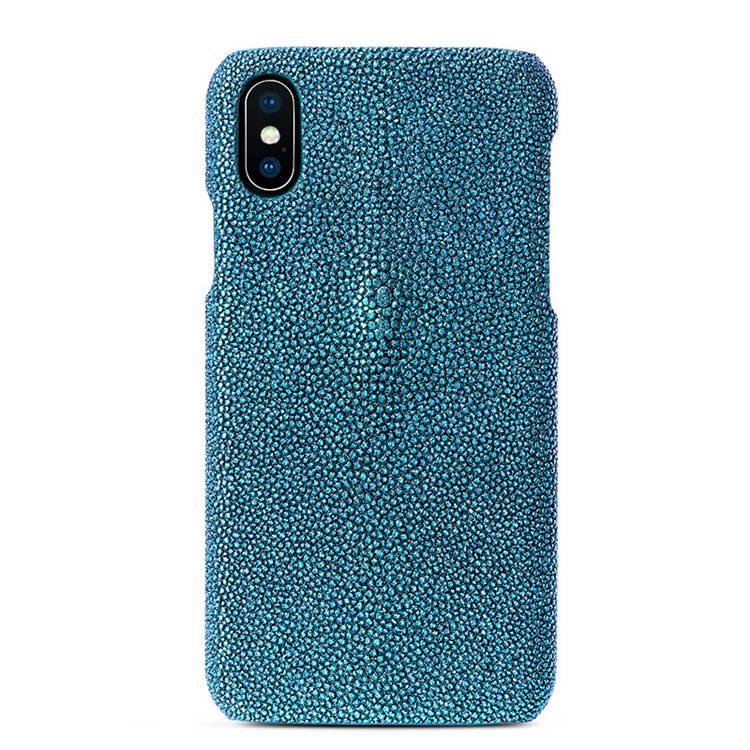 Stingray Leather iPhone X Case-Bright Blue