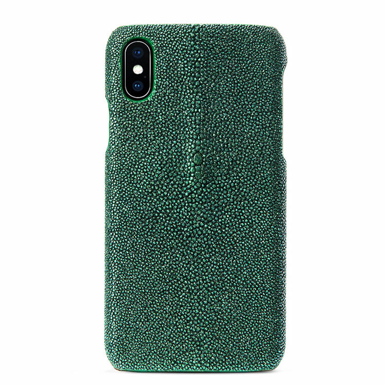 Stingray Leather iPhone X Case-Bright Green