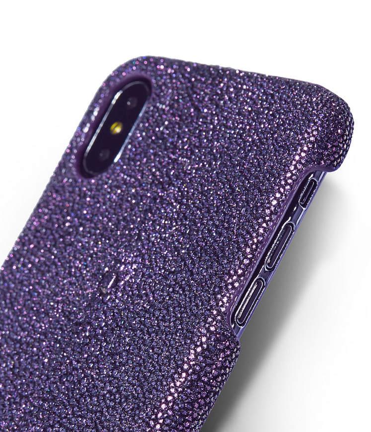 Stingray Leather iPhone X Case-Bright Purple-2