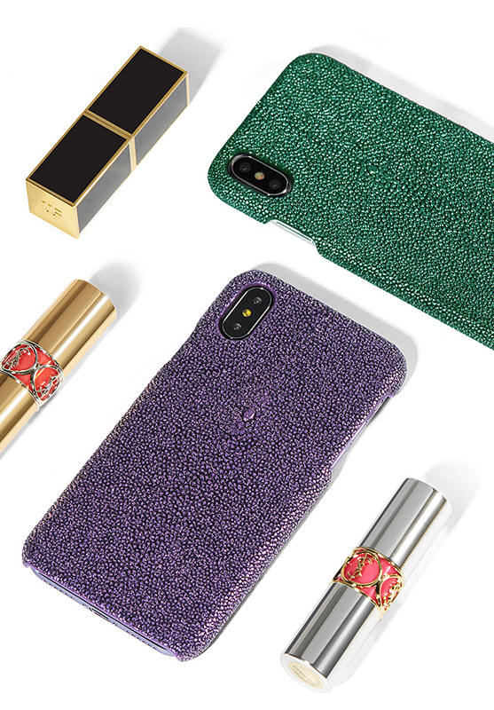 Stingray Leather iPhone X Case-Bright Purple-Exhibition-2