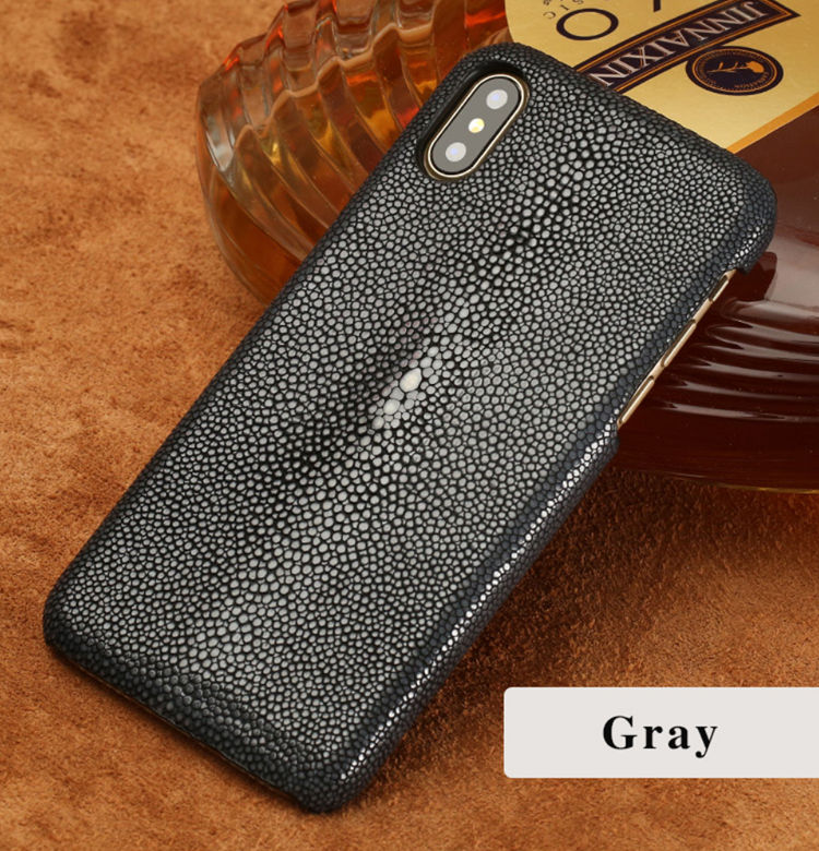 Stingray Leather iPhone Xs Max, Xs, X Case-Gray