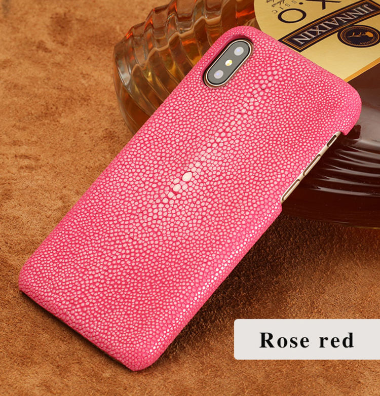 Stingray Leather iPhone Xs Max, Xs, X Case-Rose Red