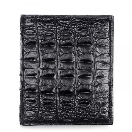 Stylish Crocodile Backbone Skin Bifold Wallet-Black