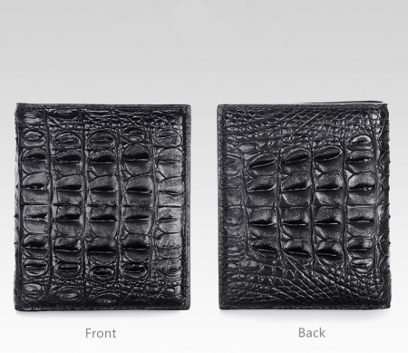 Stylish Crocodile Backbone Skin Bifold Wallet-Black-Details