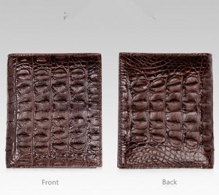 Stylish Crocodile Backbone Skin Bifold Wallet-Dark Brown-Details