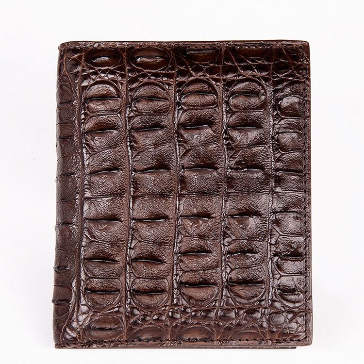 Stylish Crocodile Backbone Skin Bifold Wallet-Dark Brown