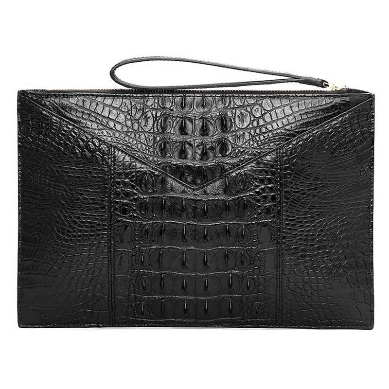 Stylish Crocodile Clutch Bag, Crocodile Clutch Wristlet Wallet for Men-Back