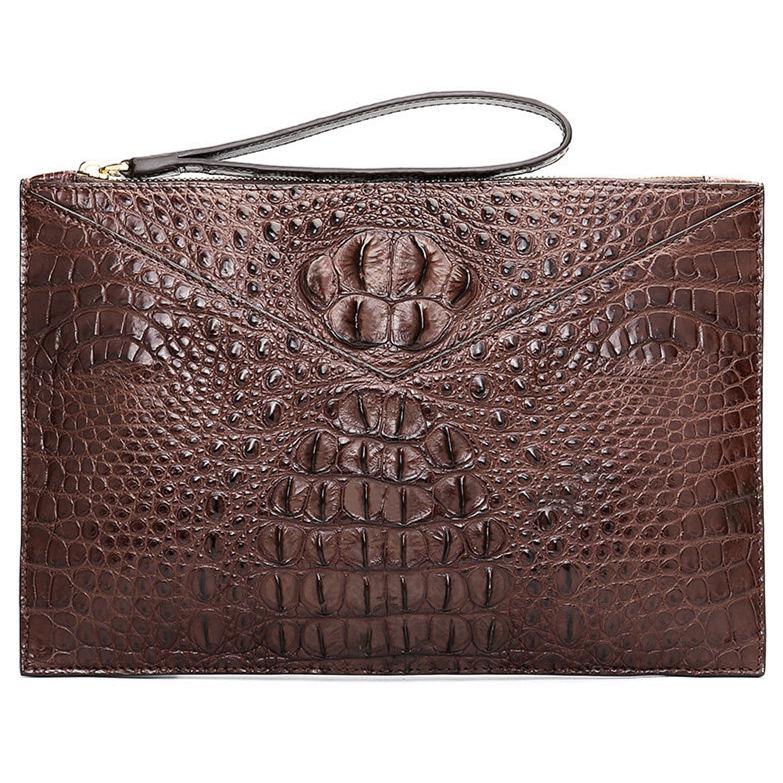 Stylish Crocodile Clutch Bag, Crocodile Clutch Wristlet Wallet for Men-Brown