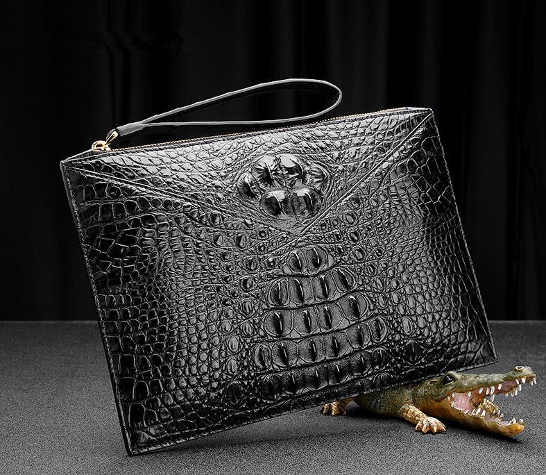 Stylish Crocodile Clutch Bag, Crocodile Clutch Wristlet Wallet for Men-Exhibition
