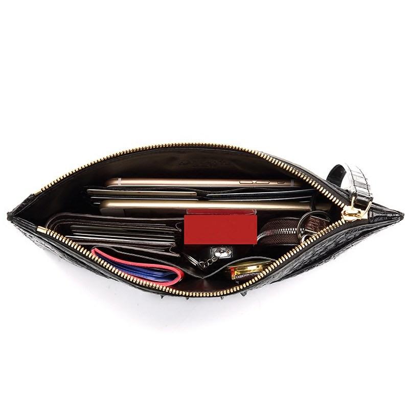 Stylish Crocodile Clutch Bag, Crocodile Clutch Wristlet Wallet for Men-Inside