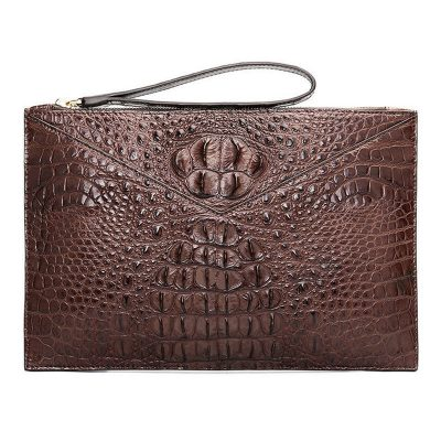 Stylish Crocodile Clutch Bags, Crocodile Clutch Wristlet Wallets for Men-Brown