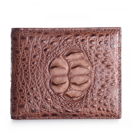 Unique Genuine Crocodile Hornback Skin Wallet for Men-Brown