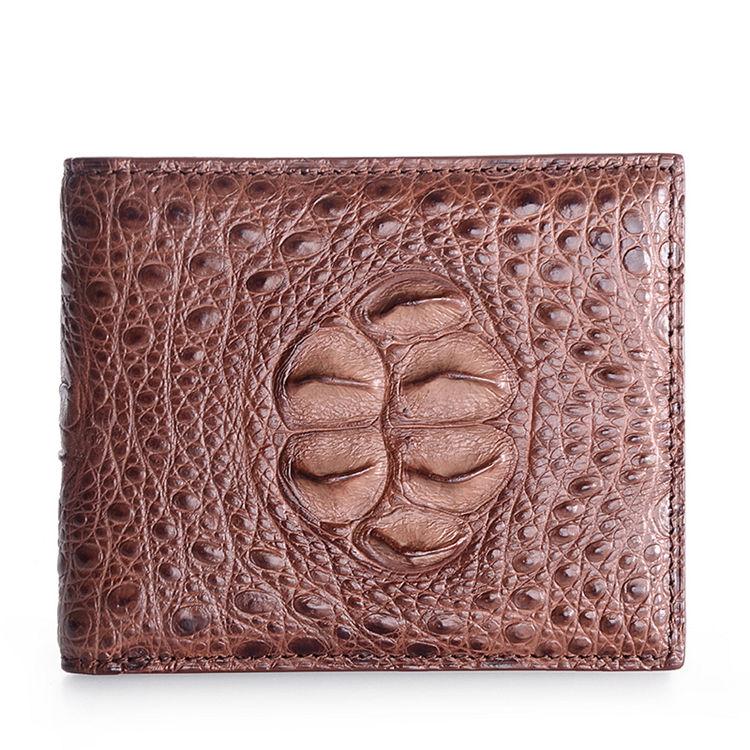 Unique Genuine Crocodile Hornback Skin Wallet for Men-Brown