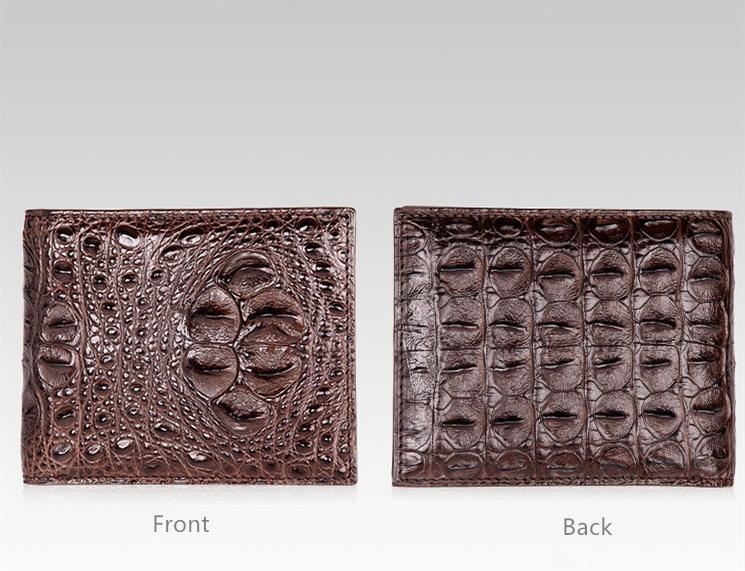 Unique Genuine Crocodile Hornback Skin Wallet for Men-Dark Brown-Details