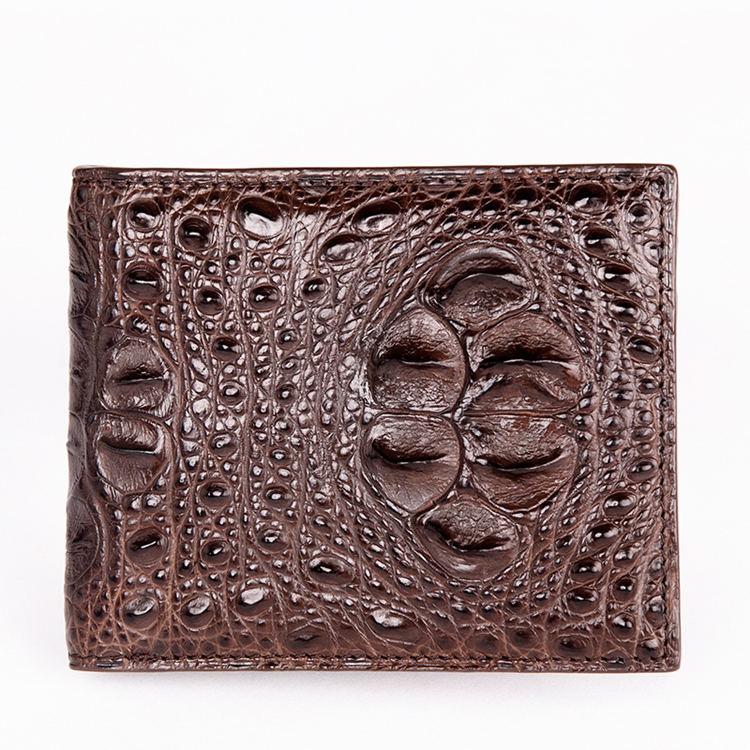 Unique Genuine Crocodile Hornback Skin Wallet for Men-Dark Brown