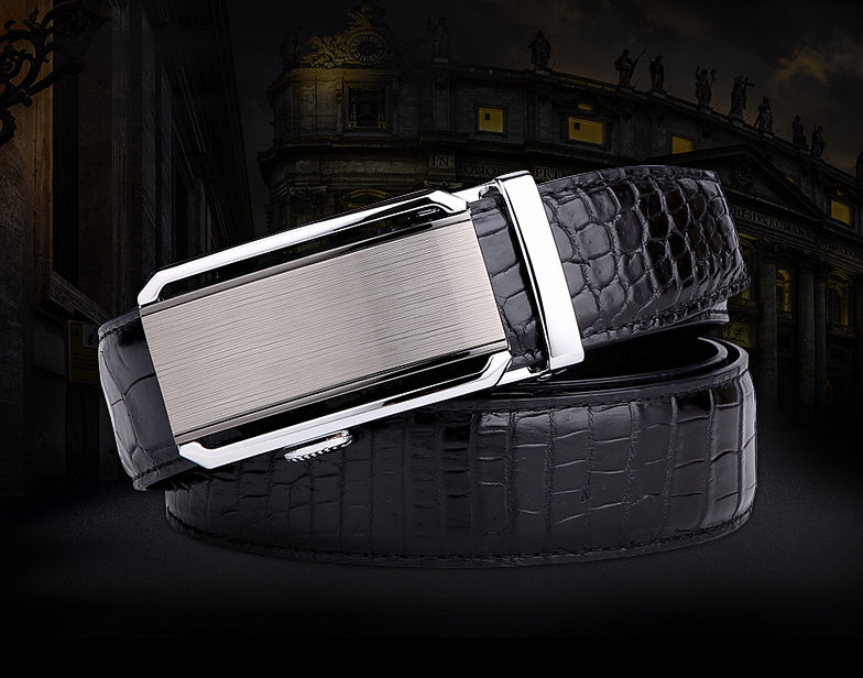 Alligator Belt with Automatic Buckle-Black