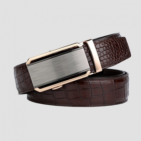 Alligator Belt with Automatic Buckle-Brown-1
