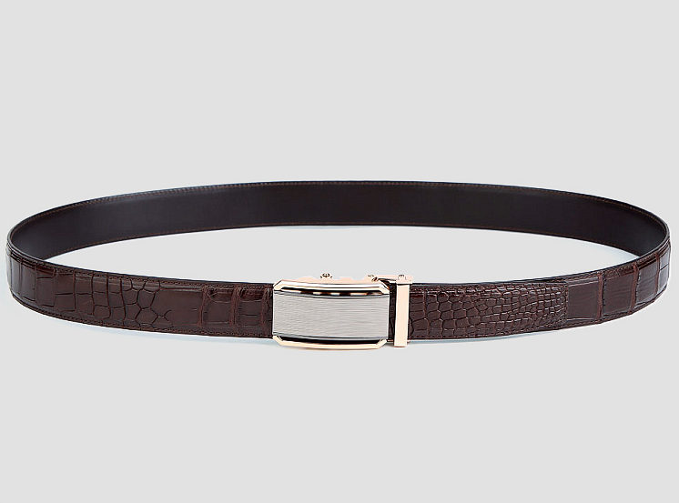 Alligator Belt with Automatic Buckle-Brown-2