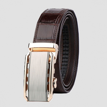 Alligator Belt with Automatic Buckle-Brown