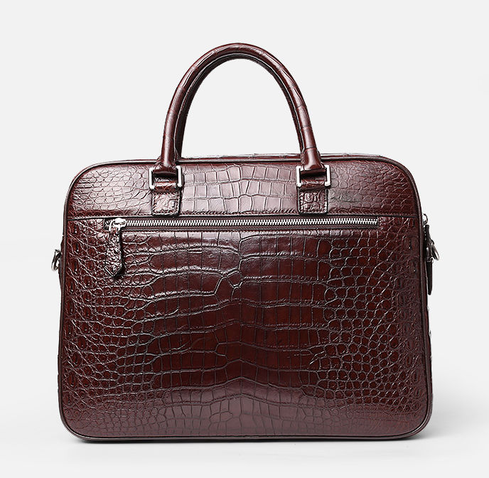 Alligator Briefcase Laptop Shoulder Messenger Bag for Men-Back