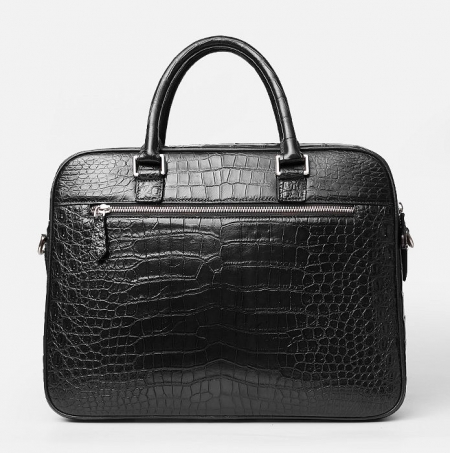 Alligator Briefcase Laptop Shoulder Messenger Bag for Men-Black-Back