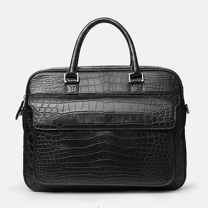 Alligator Briefcase Laptop Shoulder Messenger Bag for Men-Black