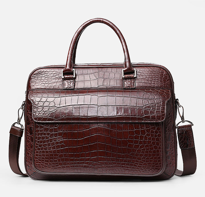 Alligator Briefcase Laptop Shoulder Messenger Bag for Men-Front