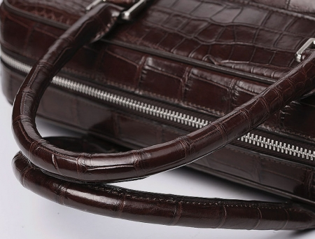 Alligator Briefcase Laptop Shoulder Messenger Bag for Men-Top Handle