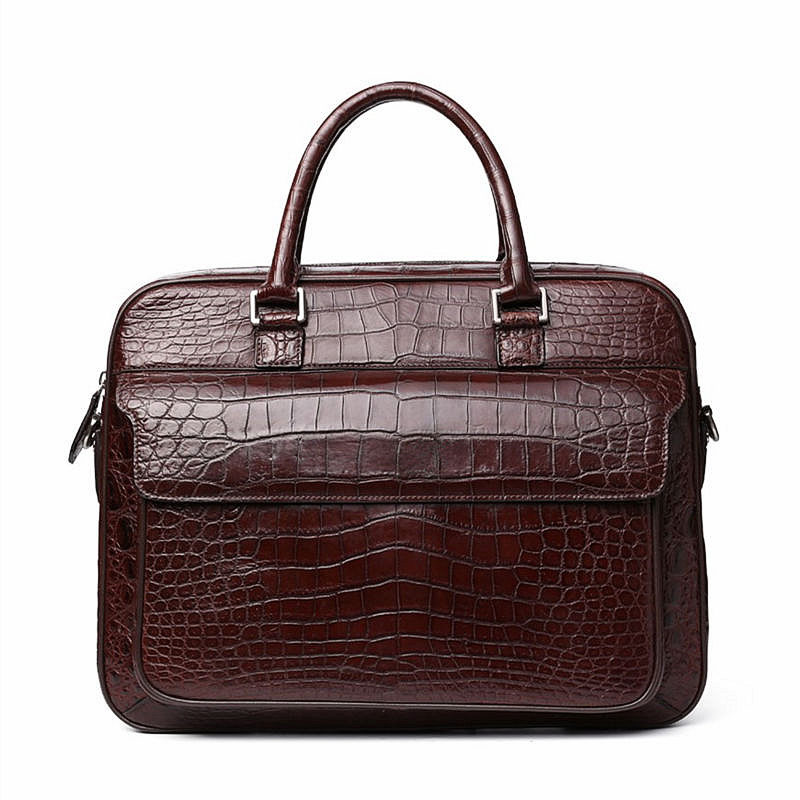 Alligator Briefcase Laptop Shoulder Messenger Bag for Men