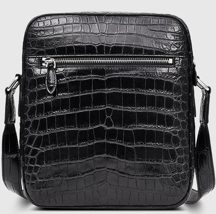 Alligator Messenger Bag Crossbody Shoulder Bag-Back
