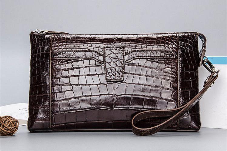 Alligator Wristlet Wallet-Brown