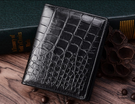 Best Crocodile Leather Wallet, Luxury Crocodile Leather Wallet for Men-Black-Exhibition