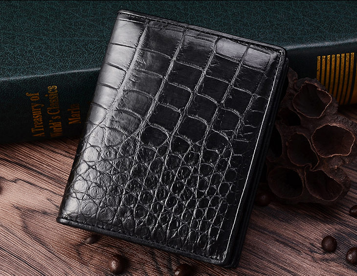 Best Crocodile Leather Wallet, Luxury Crocodile Leather Wallet for Men-Black-Exhibition