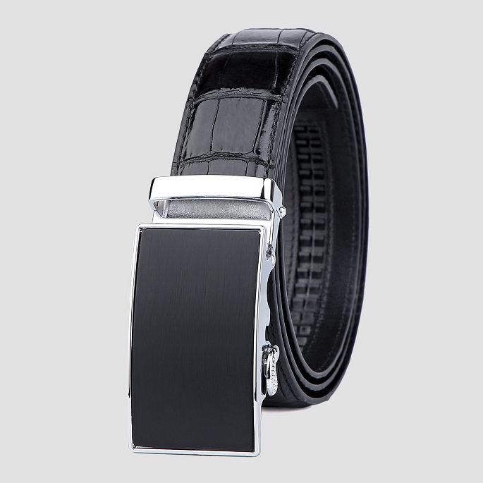 Classic Alligator Belt, Alligator Business Dress Belt-Black